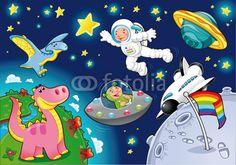 Fototapeta Człowiek w przestrzeni. Cartoon i wektorowe odizolowane ilustracji.
