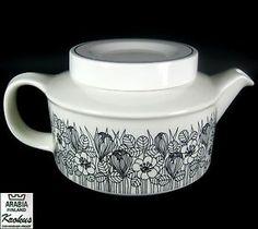 Arabia Tea Pot Krokus Pattern Esteri Tomula Design 1978/79 Finland 11cm | eBay