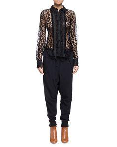 CHLOÉ Sheer Leopard-Pattern Lace Blouse. #chloé #cloth #