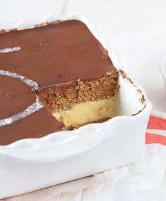 Flan con chocolate y galletas / http://www.saboresdecolores.com/
