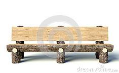 Banco de madera hecho de troncos de árbol                                                                                                                                                                                 Más