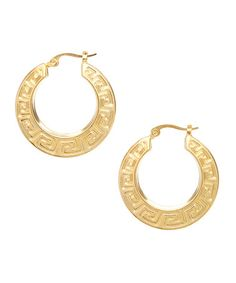 This Gold Greek Key Hoop Earrings is perfect! #zulilyfinds