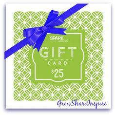 Spark Naturals makes gift giving easy with E Gift Cards. Our Gift Cards are available in $10, $25, $50 and $100 amounts.  Shop online for oils,diffusers,books, accessories and GIFT CARDS. Save 10% when using Coupon Code: jeanne on your purchases. Be sure to pass along my coupon code to the recipient of the gift card so they can have the savings when they shop! http://sparknaturals.com/index.php/?id=525