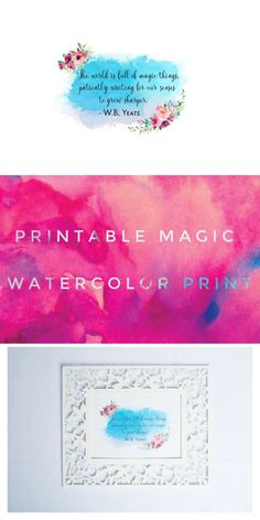Download this fun W.B. Yeats quote about magic! This watercolor printable is perfect for Halloween Decor or any time of year. From Pop Shop America DIY Blog!
