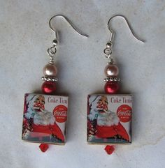 Vintage Coca Cola Santa Christmas Scrabble Charm Earrings