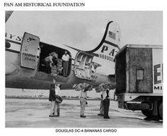 Pan Am DC-4 freighter, loading bananas