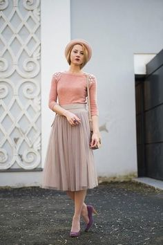 Tulle skirt in blush pink
