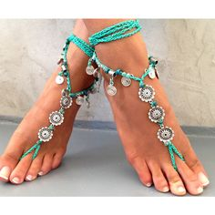 Barefoot Sandals Barefoot Beach seaside Jewelry barefoot sandal,... ($37) ❤ liked on Polyvore featuring shoes, sandals, light blue sandals, hippie sandals, flat thong sandals, flower shoes and hippie shoes