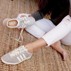 explore the latest adidas gazelle pink, black, white, grey trainers at adidas uk online shop, free delivery & free returns for 30 days. Sneaker Outfits, Tomboy Outfits, Sneakers Mode, Grey Sneakers, Adidas Sneakers, Adidas Gazelle Outfit, Adidas Outfit, Cheap Adidas Shoes, Athleisure