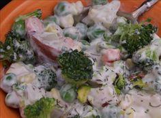 Garden Vegetable Pistachio Potato Salad #thanksgiving #recipe #sidedish