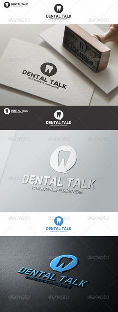 Dental Talk Logo Template ¨C Excellent Dent logo in vector format for dental chat, dentist support, dentist service or related busi Dental Clinic Logo, Dentist Logo, Dentist Quotes, Dental Art, Dental Office Design, Logo Design Template, Logo Templates, Dental Reception, Dental Business Cards
