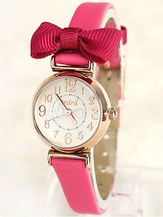 Sweet Bow Pigskin Fashion Watch For Women at $23.99  http://www.bboescape.com/products/86/watches