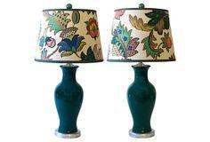 Teal Ceramic Lamps, Pair on OneKingsLane.com