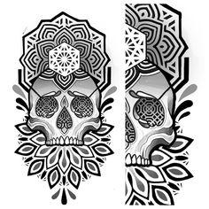 Geometric Mandala Tattoo, Tattoos Mandala, Sacred Geometry Tattoo, Geometric Tattoo Design, Mandala Tattoo Design, Skull Tattoo Design, Skull Design, Skull Tattoos, Tattoo Designs