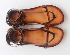 Lace Up Sandals, Strappy, Barefoot Handmade Leather Flats on Etsy, $55.00