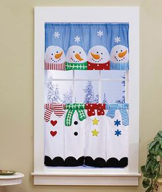 3-Pc. Snowman Curtain Set | The Lakeside Collection - Could make this myself.