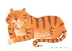 Painted Tiger chilling by Kristyna Litten Tiger Drawing, Tiger Painting, Painting & Drawing, Coffee Illustration, Illustration Artists, Botanical Illustration, Pet Tiger, Animal Magic, Art Society