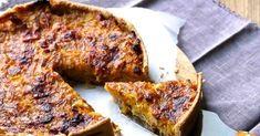 Tarte d'automne au butternut , poireaux , speck et parmesan , pâte à la farine d'épeautre