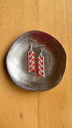 Chubbeadrings Elegant Carpet Pattern Strip Beaded Earrings By Chubbeadrings by chubbybeadedearrings on Etsy