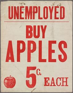 Placard advertising apple selling by the Depression-era unemployed
