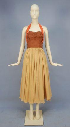 SCHIAPARELLI SILK CHIFFON COLORBLOCK COCKTAIL DRESS, LATE 1940's - EARLY 1950's