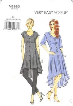 Loose-fitting tunic or dress has bands, side front and side back seams, shaped…