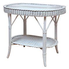 Oblong Wicker Table with Woven Lower Shelf