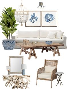 This coastal design is casual but also elegant. I love using natural materials like timber and wicker. Here we have chosen rustic timber to create a relaxed look. Gotta love a beaded chandelier like this one. The hamptons look with a fresh approach #hamptons #beachstyle #fiddleleaffig #weathered #cane #wicker #linencouch #linen #coastal #coastalstyle #coralprint #coral #driftwood