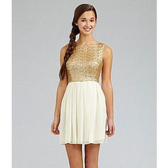 B darlin gold dress black