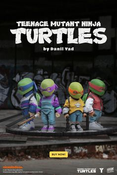 """Cowabunga! Teenage Mutant Ninja Turtles x Danil Yad is now live on Mighty Jaxx 🍕 Grab your fave or purchase a set of 4 on mightyjaxx.rocks to get an additional exclusive graffiti display wall! 🍕 First 100 customers to purchase the set on the Mighty Jaxx website get an additional graffiti display wall 🍕* *Promotion is not valid for purchases made on the Mighty Jaxx App 8"""" tall vinyl art collectibles / $199 for individual pieces / $699 for set of 4 / Vinyl Toys, Vinyl Art, Yellow Guy, Takashi Murakami, Graffiti Wall, Custom Vinyl, Designer Toys, Teenage Mutant Ninja Turtles"""