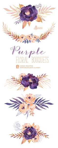 Purple Floral Bouquets: Digital Clipart Pack. Hand by OctopusArtis