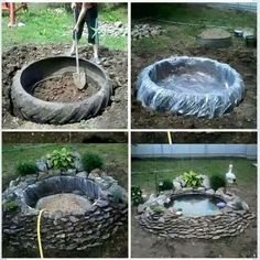 ~tire pond~ old recycled reused repurposed tire large big plastic stones rocks plants decoration water pond fish turtles garden calm pretty landscaping