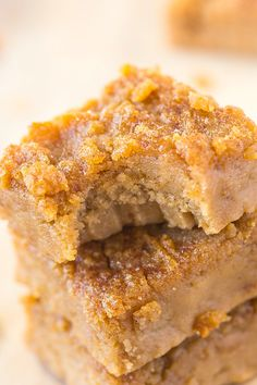 Healthy Four Ingredient Flourless Apple Pie Blondies recipe- A quick, easy and delicious recipe with 4 ingredients- NO white flour, white sugar, butter or oil! {vegan, gluten free, refined sugar free and paleo}