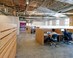 Simple desking. Good chairs. Bright and natural light. Open space and yet, privacy for the employees: we like it!