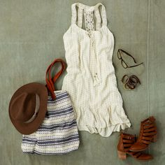 Crocheted Back Sundress. An easy boho dress for an effortlessly pretty look. #AEOSTYLE