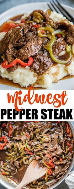 Midwest Pepper Steak Pepper Steak, updated with a sweet and spicy gravy and served over mashed potatoes, becomes the ultimate comfort food when it's made in the Midwest. Hearty and filling, your family will love this meal any day of the week! Beef Dishes, Food Dishes, Main Dishes, Beef Recipes, Cooking Recipes, Vegetarian Cooking, Easy Cooking, Easy Recipes, Sirloin Recipes