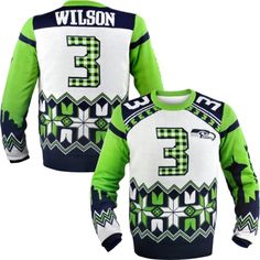 Seattle Seahawks Russell Wilson Ugly Sweater - I don't know whose mistake it was but there is no Packers sweater. I do love me some Russell Wilson!