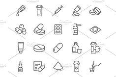 Line Pills Icons by Davooda on @creativemarket