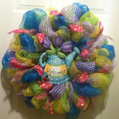 Summer Deco Mesh Wreath made by me!