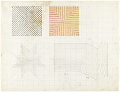 cinoh:Frank Stella, Untitled. 1964. Pencil and crayon on graph paper