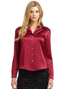 Lafayette 148 New York Silk Satin Blouse in Red (berry) | Lyst
