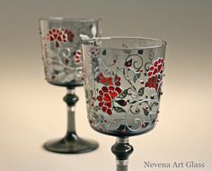 Wine Glasses Hand Painted Wedding Glasses Toasting Glasses Christmas glasses, set of 2 OOAK Deep red charm, silver chic and red Swarovski crystals