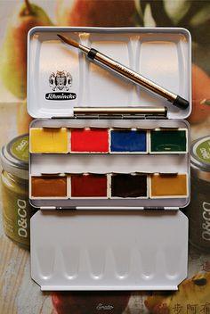 Unpacked, 8 colors travel palette, Schmincke
