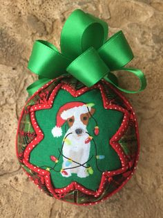 Christmas Dogs Fabric Quilted Ornament Ball by WreathsByKari on Etsy Folded Fabric Ornaments, Quilted Ornaments, Fabric Wreath, Handmade Ornaments, Ball Ornaments, Hanging Ornaments, Christmas Dog, Christmas Balls, Christmas Ornaments