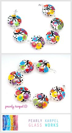 """6 Happy colorful 21mm button beads, Handmade by me The mandrel's size is 1.5mm (1/16"""") All my beads are kiln annealed"""