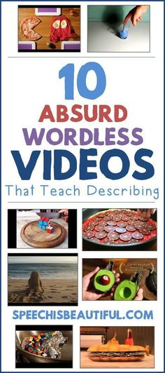 10 Absurd Wordless Videos that Teach Describing – Speech is Beautiful How engaging can video be during speech therapy sessions? What about wordless absurd videos? Guaranteed to get your older quieter students thinking and talking! Speech Therapy Games, Speech Language Pathology, Speech And Language, Play Therapy, Therapy Ideas, Speech Therapy Posters, High School Activities, Speech Therapy Activities, Language Activities