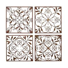 Square Metal Wall Art square framed wrought iron wall art | rod iron wall art