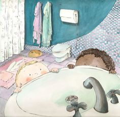 In the bathroom. Illustrations, Bathroom, Kids, Painting, Animals, Art, Pretty Pictures, Washroom, Young Children