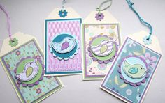 Little Birds  Set of Four Pretty Gift Tags by CraftyMushroomCards, £3.50
