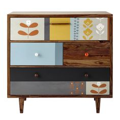 Sheesham wood vintage chest of drawers W 94cm Wallpaper